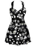 Summer Mae Damen Badekleid Plus Size Geblümt Figurformender Einteiler Badeanzug Swimsuit Schwarz Blumen (EU Size 40-42)