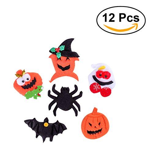 Tinksky Trajes de Víspera de Todos los Santos fieltro broche de paño para Halloween Prop Decoración de calabaza Spider Bat insignia placa de etiqueta 12 piezas
