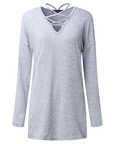 Cnfio Damen Pullover Langarmshirt V Ausschnitt Knit Verband bandage Lace-up Bluse Tops Grau