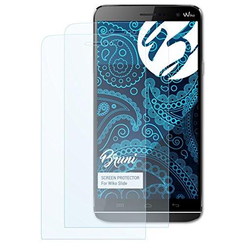 Bruni Schutzfolie kompatibel mit Wiko Slide Folie, glasklare Bildschirmschutzfolie (2X)