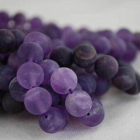 Haute qualité Grade A Naturel Améthyste givré/mat Pierre précieuse de pierres semi-précieuses Perles rondes 4, 6, 8, 10mm Tailles, 8mm (47 - 50beads)