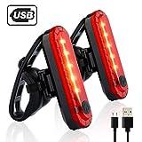 AimdonR Luminoso Rosso LED Luci Bicicletta, 2 PCS Luci per Bici, Luce Fanale Posteriore per Bici, USB Ricaricabile, 4 modalità di Luce, Resistente all