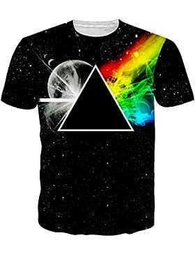 Uideazone Unisex 3D-Druck Lustige Herren Kurzarm T-Shirts Bunt UK S-L