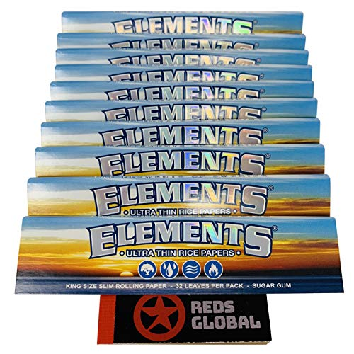 Elements Reds Brand Exclusive King Size Slim Rolling Papers (10 Pack Ultra Thin Rice Papers) (Elements Paper Rolling)