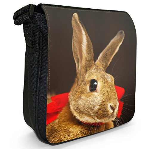 Peluche conigli Borsa a spalla piccola di tela, colore: nero, taglia: S Nero (Rabbit With Red Bow On)