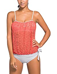 OLIPHEE Mujer Bandeau Swimsuits Soft Cup Strapless Blusa Tankini con Breifs