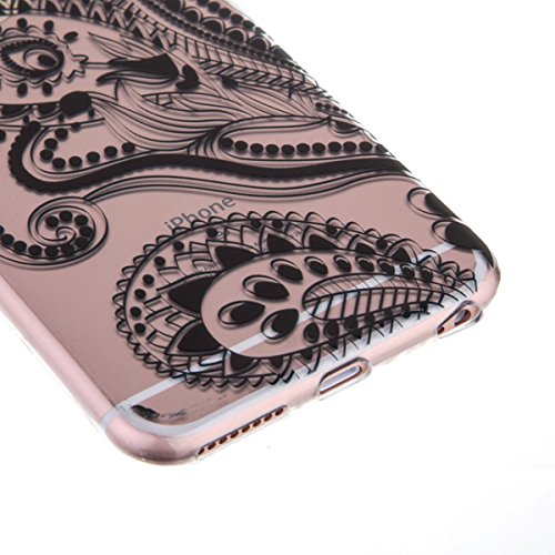 Ekakashop Transparent Hülle für Apple iPhone 6 Plus/6s Plus 5.5 Zoll, Modisch Durchsichtig Hüllen mit Schwarz Ananas Muster Weiche TPU Soft Silikon Handyhülle Schutzhülle Rückseite Etui für iPhone 6s  Schwanz Blume
