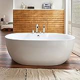 Freistehende Badewanne mit Armatur Acryl weiß Modern 170x80cm Kiel