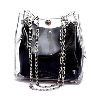 TOOGOO SODIAL (R) Frauen Kleine Eimer Taschen Kunststoff Transparent Totes Verbundkette Tasche Weibliche Mini Gelee Handtaschen Schwarz