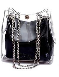 SODIAL Bolsa de cubo pequena para mujer Bolso transparentes de plastico  Bolsa de cadena compuesta Bolso 11fa0f5f3cad4
