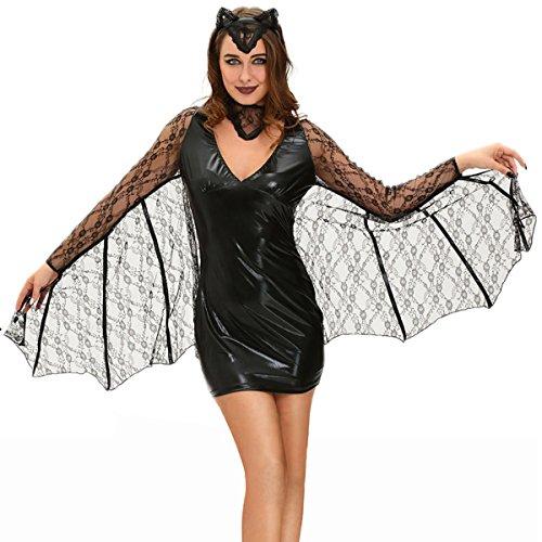 Nihiug Halloween Mini Schwarzes Kleid Sexy Moonlight Vampire Fledermäuse Bühne Kostüm Corpse Party Supplies Schreckliche Big Beine,Black-M