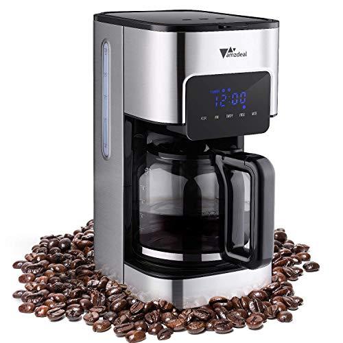 amzdeal Cafetière à Filtre Programmable à 12 Tasse - Machine à Café à Écran Tactile avec Verseuse Thermostatique, Système Anti-Gouttes, Arrêt Automatique, Sélecteur de Concentration, 900W