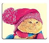 Liili Mauspad Naturkautschuk Mousepad Bild-ID 33627080Katze einer rosa Stricken Mütze mit Pompon und einen Schal Vintage Color Correction