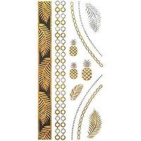 COKOHAPPY Metallico Temporanei Temporaneo Tatuaggi Tattoo Oro Argento Ananas Foglia Style - Beach Bracciali