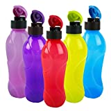 #7: Cello Splash Flip Polypropylene Bottle Set, 1 Litre, 5-Pieces, Multicolour