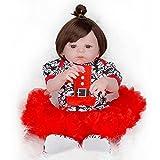 Doll Handgemachte Reallife Reborns Babypuppen mit Niedlichem Kleid 22Inch/55Cm Weiches Silikon Vinyl Lebensechte Magnetische Schnuller Acryl Augen Neugeborenes Mädchen Spielzeug Geschenk HMYH