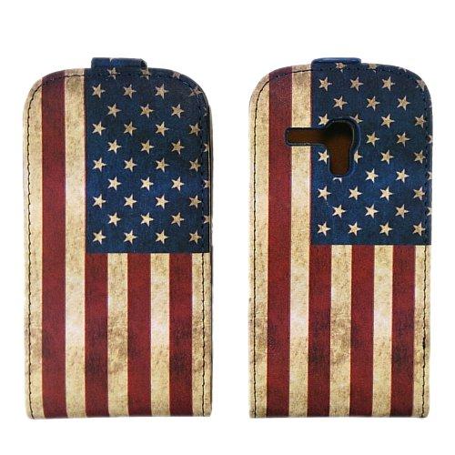 handy-point Amerika USA Flagge, Flip Case Klapptasche Klapphülle Tasche Hülle Schale Schutzhülle Schutztasche für Samsung Galaxy S3 Mini, SIII Mini, Blau, Rot, Weiss (S3 Mini-usa)