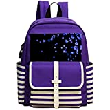 Black And Blue Star Unisex Kindergarten Purple Packback School Shoulder Backpack For Girls Boys
