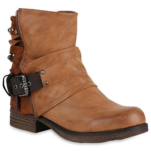 Gefütterte Damen Schuhe Biker Boots Glitzer Stiefeletten Nieten 147794 Hellbraun 42 Flandell