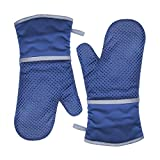 TFENG Ofenhandschuhe, Hitzebeständige Grillhandschuhe, Anti-Rutsch Backofen Handschuhe, Blau,  1 Paar