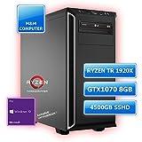 M&M Computer Dresden High End Ryzen Threadripper, AMD Ryzen Threadripper 1920X 12-Kern-Prozessor, NVIDIA GTX1070 8GB Gamer Grafikkarte VR + 4K ready, 512GB SSD M.2 (NVMe), 4000 GB SATA3 HDD, 32GB DDR4 RAM 2666MHz, MSI X399 SLI PLUS HighEnd Mainboard, DVD-Brenner, gedämmtes BeQuiet-Gehäuse, Windows 10 Pro vorinstalliert inkl. Treiber, Bestseller