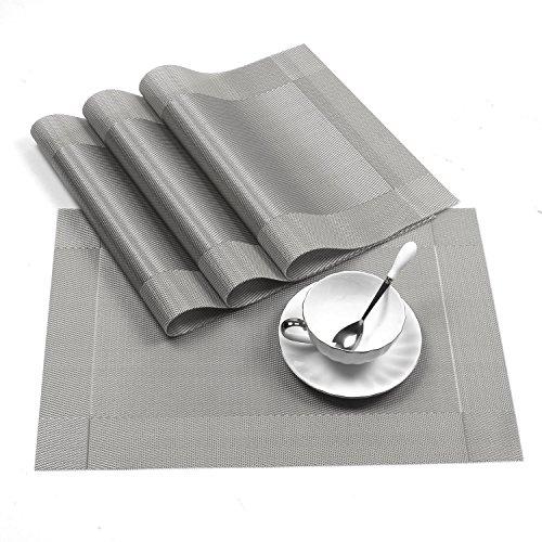 Four Heart Tischsets(4er Set), Rutschfest Abwaschbar Platzsets, 30x45cm PVC Abgrifffeste Hitzebeständig Platzdeckchen für küche Restaurant mit Geschenkbox (Grau)