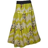 Mogul Interior Bohemian Printed Ladies Peasant Skirt Vintage Flared Maxi Beach Summer Skirt M/L