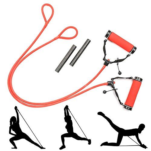Fitnessbänder, Widerstandsbänder, Trainingsbänder, Gymnastikband, mit abnehmbaren Gewichten für das Training zu Hause&Gym für Männer und Frauen, 2er Packung, aus 100% Naturlatex (Red)