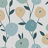 Reflections 5901 Vlies-Tapete Retro Blumen Minimalismus grün, gelboliv, türkis auf blassgrau