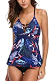 CharmLeaks Damen Tribal Push Up Tankini / Slip / Bandeau /Nationalität Muster / Badeanzug, Dunkelblau, L