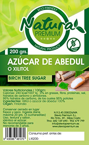 Natura Premium Azucar de Abedul ó Xilitol 200 grs ECOLOGICO