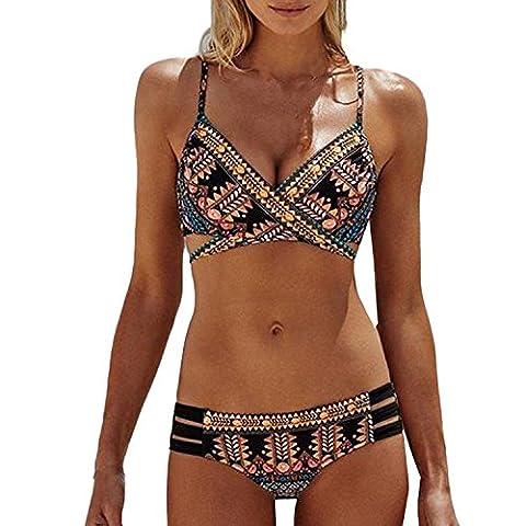 Minetom Femmes Maillot de bain Bohemia Push-Up Soutien-gorge rembourré Ensemble de bikini de plage Noir FR 38