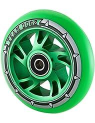 1único equipo Dogz perros Pro 4100mm Espiral de aleación Metal Core patinete rueda ABEC 988A PU, Green PU Green Core