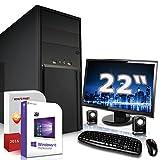 Komplett PC Set Office / Multimedia inkl. Windows 10 Pro 64-Bit! - Quad-Core Intel J1900 4x2,4GHz Turbo - Intel HD Graphics 1.7GB HyperMemory - 8GB DDR3 RAM - 256GB SSD - ASUS 22 Zoll TFT Monitor - 24-fach DVD Brenner - Lautsprecher - Tastatur + Maus - USB 3.0 - DVI - VGA - HDMI - Computer mit 3 Jahren Garantie!