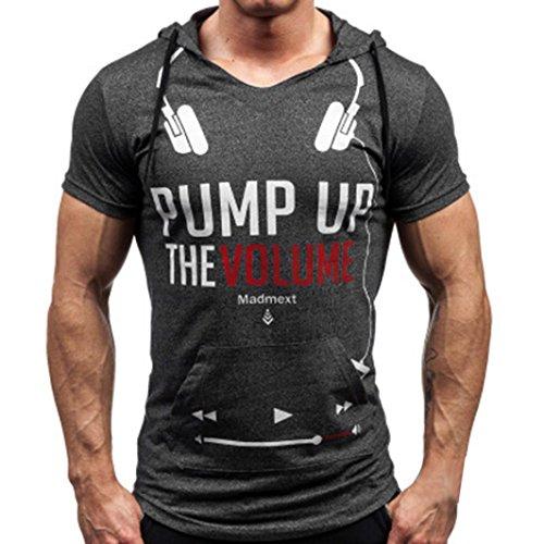 """Tonsee Hommes Été T-shirt manches courtes """"pump up the volume"""" Imprimé Mode V-cou pull avec capuche"""