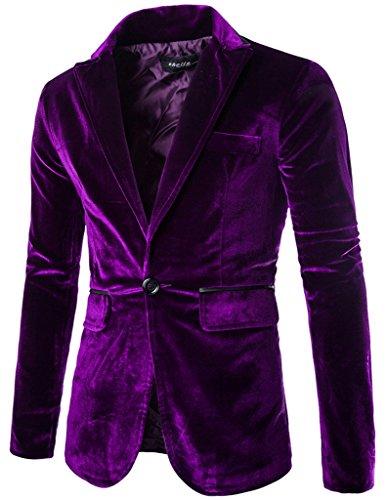 Porlox Herren Slim Fit Peaked Revers 1 Knopf Samt Blazer Jacke - Violett - US Small/Etikette L