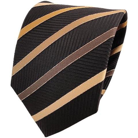 Lurex TigerTie cravatta marrone oro nero a strisce e seta - cravatta in (Oro A Strisce Cravatta)