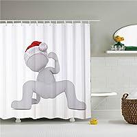 Snowman Shower Curtain Cortina de ducha blanca con diseño de muñeco de nieve, resistente al moho, impermeable y antibacteriana, 72 x 72 cm