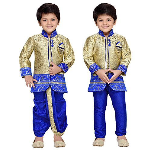 AJ Dezines Boys Indo Western Kurta Dhoti Pant Set for Kids (9001_ROYAL_6)