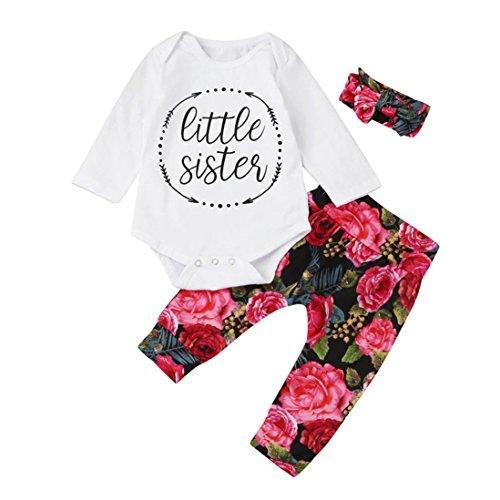Top-Qualität LCLrute Lovely 0-24M 3pcs Kleinkind-Säuglingsbaby-Mädchen-Kleidung kleidet Sätze Tops + Hosen + Stirnband-Ausstattungen (90) (Bib Tarnung)