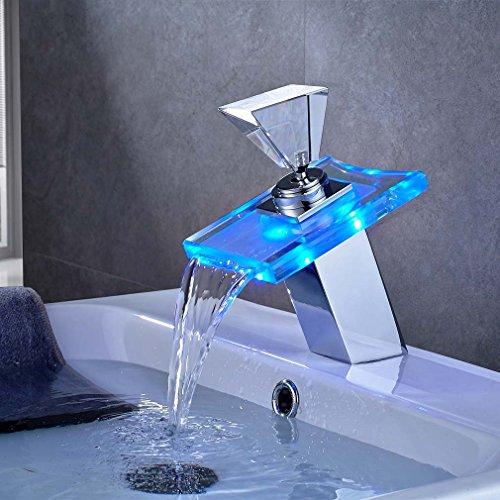 BONADE LED RGB 3 Farbewechsel Glas Wasserhahn Wasserfall Waschtischarmatur Armatur für Badenzimmer Waschbecken, Messing Chrom