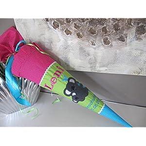 #70 Koala Koalabär pink-grün-Türkis Schultüte Stoff + Papprohling + als Kissen verwendbar