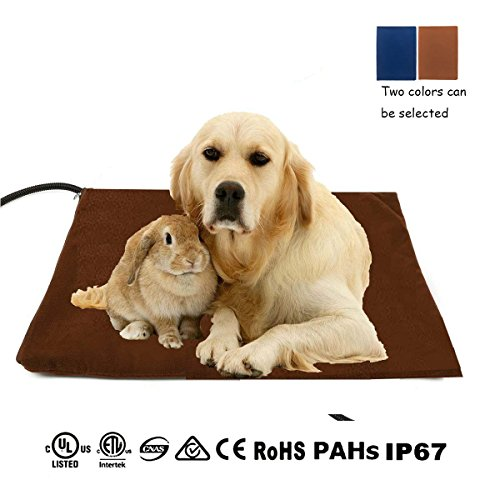 Qiu's home Wärmer Beheizte Pet Mat - Heizmatte Wärmematte Haustier für Hunde Katzen Kaninchen,50 x 50 cm (Braun 50 x 50 cm)
