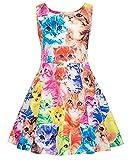 Kidsform Mädchen Festliches Kleid Retro Kleid Hepburn Stil Kleid Blumen Kleid Drucken Casual Kleid Katze 4-5Y