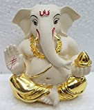 #6: Gold plated Off white Appu ganesha (5x4x3 cm) / Vinayaka Idol/ Silver Ganesha/ Vinayaka statue/ Car dashboard idols/ Ganesh idol for car dashboard/ Idols for car dashboard/ Ganesh idol/
