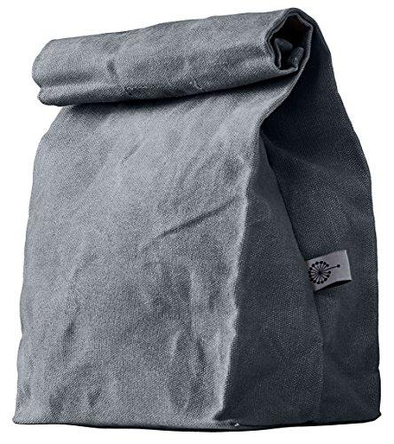 Colony Co. Lunch Bag | Pausenbrot-tasche | Gewachste Baumwolle | Biologisch abbaubar | Für Frauen, Männer, Kinder | Kein Plastik | Zero Waste | Grau | 36x20x13 Zentimeter