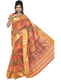 Jevi Prints Orange Gadwal Cotton Saree With Banarasi Border