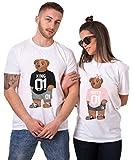 King Queen T-Shirt Set für Paar Partnerlook Bär Tshirt Partner Pärchen Geschenke Symbolische Liebe für König Königin (Weiß, King-M + Queen-S)