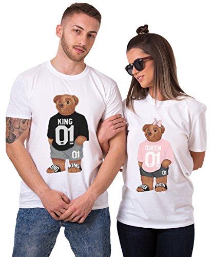 King Queen T-Shirt Set für Paar Partnerlook Bär Tshirt Partner Pärchen Geschenke Symbolische Liebe für König Königin (Weiß, King-M + Queen-S) (Damen T-shirt Bär)
