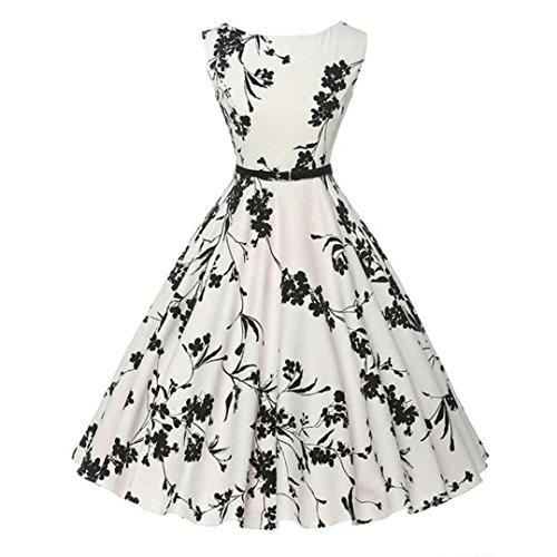 Elecenty vestito da donna abito da donna vintage aderente senza maniche casual retrò da sera con balze (xxl) (size:l, nero)